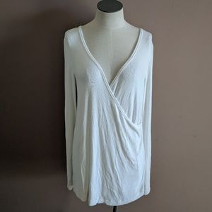 We the Free People M Ribbed White Cross Front Top